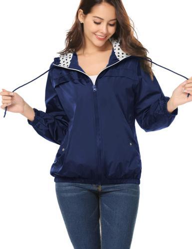 LOMON Rain Raincoat with ZipperNavy