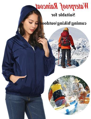 LOMON Women's Packable Rain Jacket with ZipperNavy
