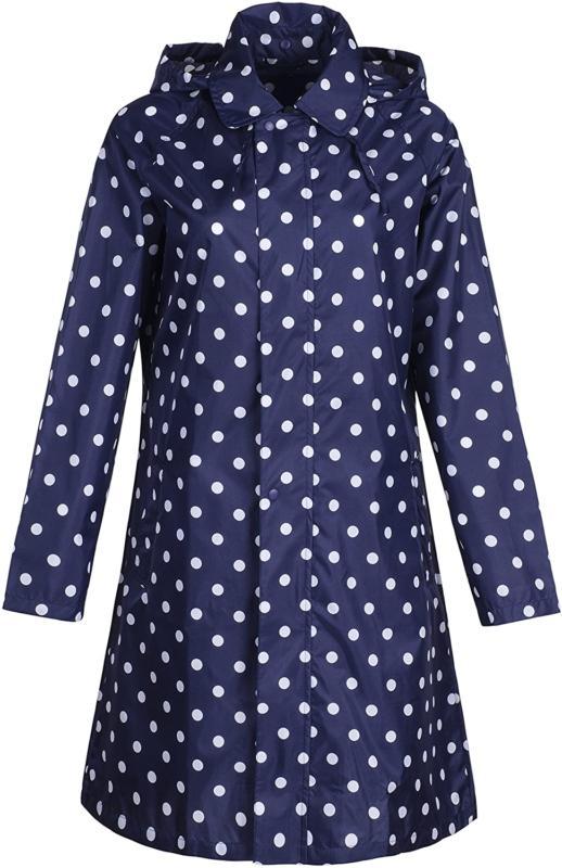 Qzunique Women'S Packable Waterproof Rain Jacket Poncho Rain