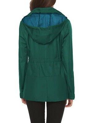 LOMON Women's Rain Hunter Green Size M Hooded $50 #109