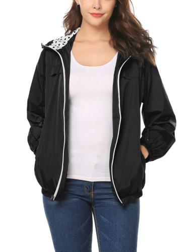 LOMON Women's Raincoat Outdoor Hooded Rain
