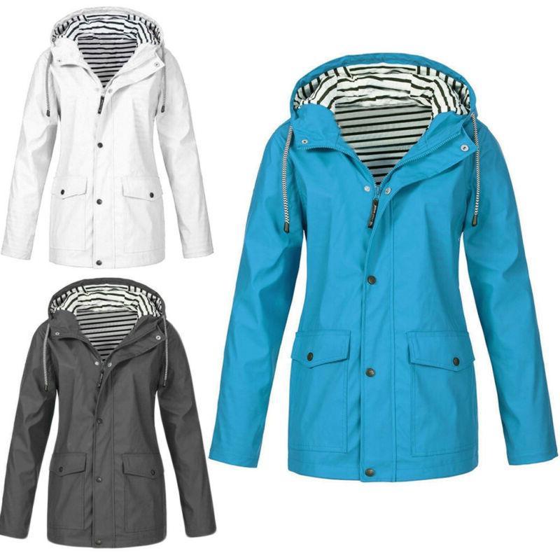 women solid windproof rain jacket outdoor plus