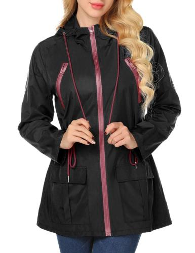LOMON Womens Hooded Jacket Plus Size, Lightweight Waterproof