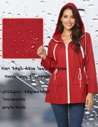 LOMON Jacket Women Waterproof Raincoat Red-S