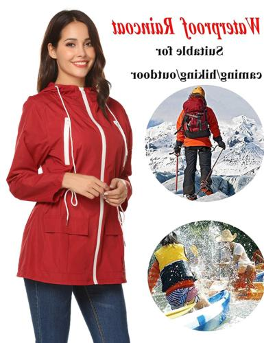 LOMON Rain Waterproof Raincoat Outdoor Red-S