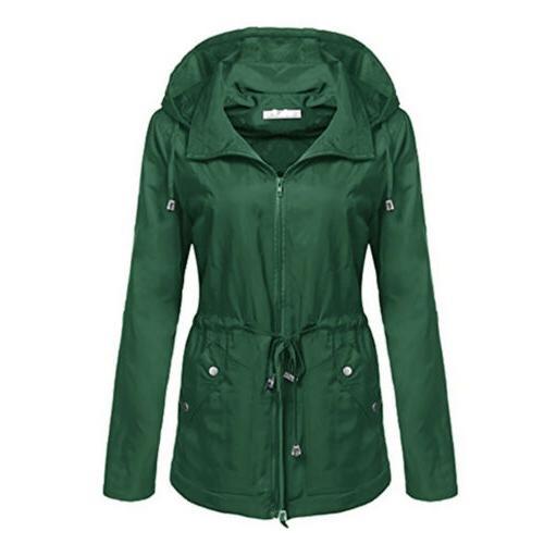 Womens Hooded Zip Waist Coat Windbreaker Outdoor