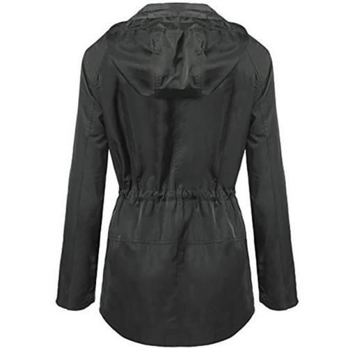 Womens Hooded Zip Waist Waterproof Long Rain Coat Outdoor