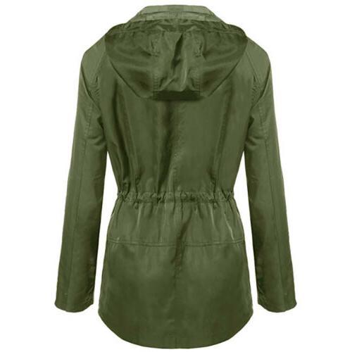 Womens Hooded Waist Long Rain Coat Outdoor