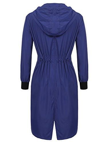 ELESOL Women's Long Rain Jacket Packable Waterproof Rain
