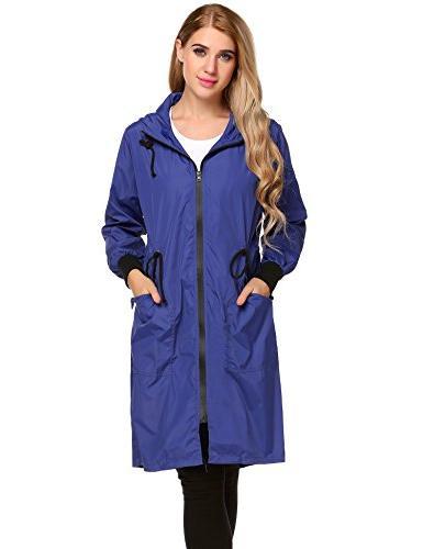 ELESOL Women's Long Jacket Packable Rain