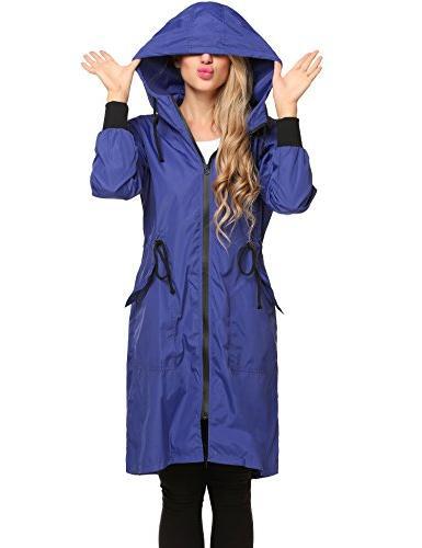 ELESOL Women's Long Jacket Packable Breathable Rain Blue,L