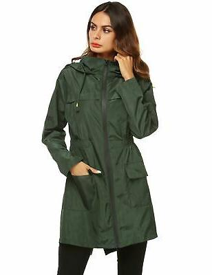 LOMON Womens Raincoat Hooded Waterproof