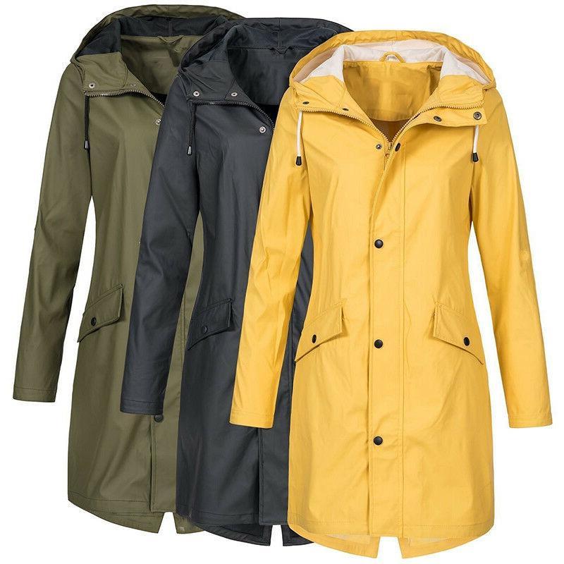 plus size women waterproof raincoat hooded wind