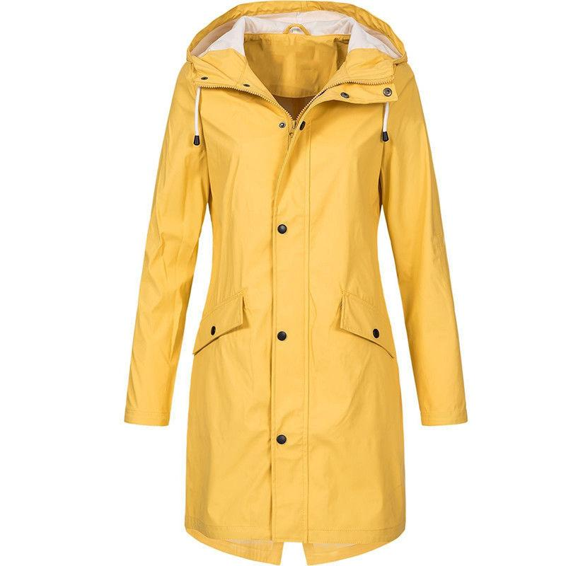 Plus Size Hooded Trench Raincoat
