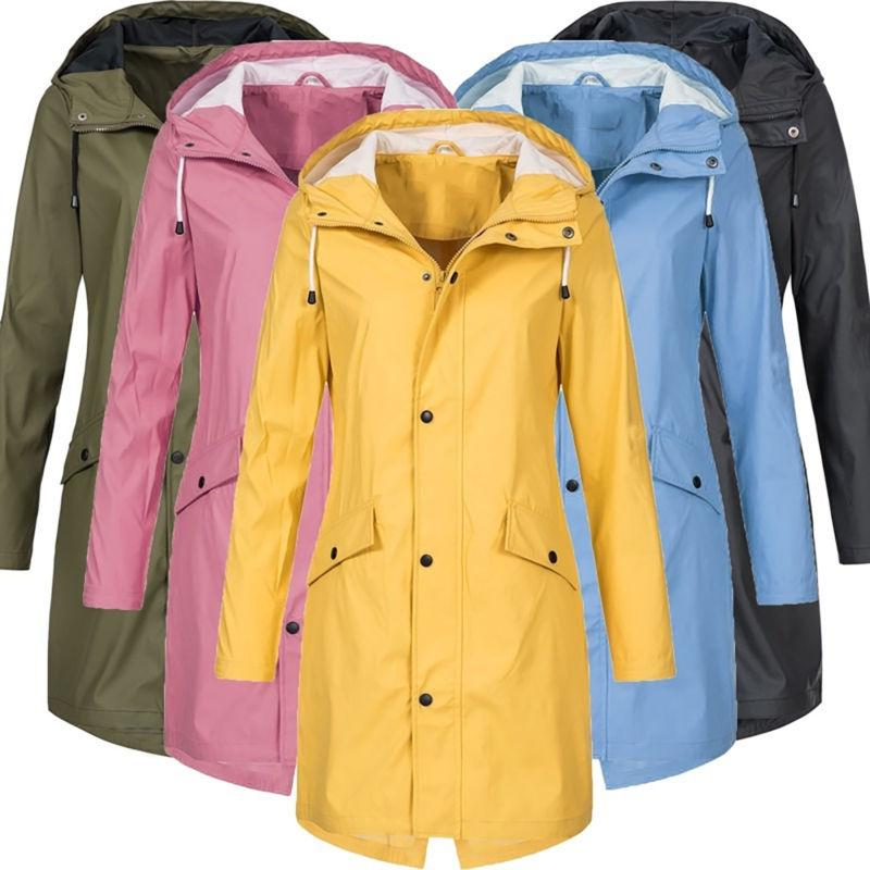 Plus Size Hooded Coat Windbreaker Trench Raincoat Outwear