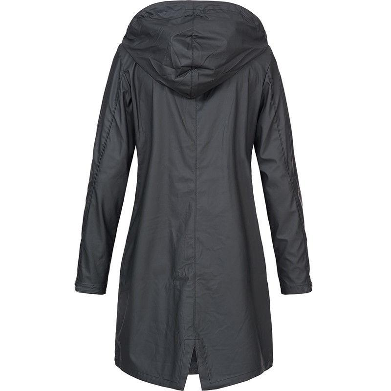 Plus Size Hooded Coat Trench Raincoat Outwear