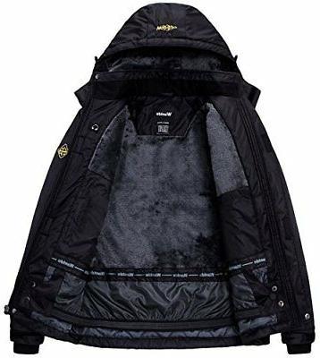 Womens Mountain Waterproof Fleece Ski Jacket Windproof Black