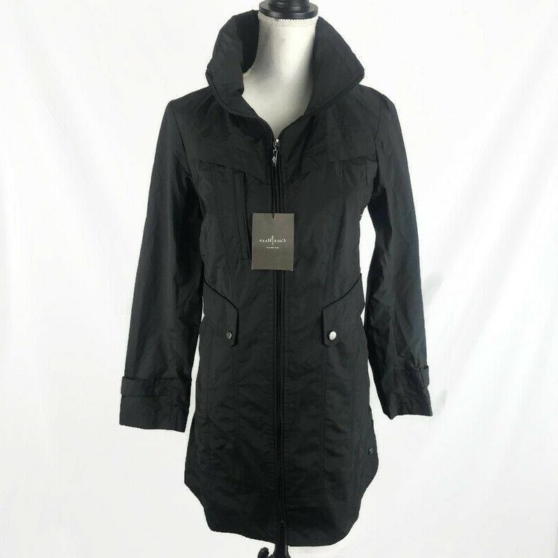 womens raincoat black small full zip nwt