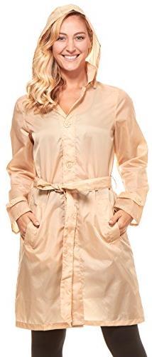 Floopi Womens Raincoat Lightweight Hooded Packable Waterproo