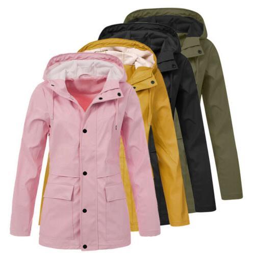 Women Jacket OutdoorWaterproof Hooded Raincoat Windproof Plus Size US