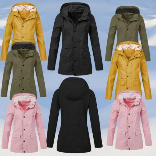 Women Jacket Hooded Raincoat Plus Size US