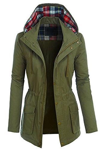 womens zip up military anorak jacket w