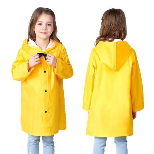 yellow children kid boys girls hooded raincoat