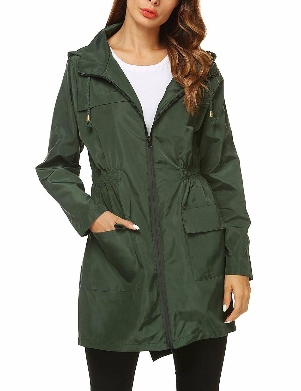 zhenwei Womens' Raincoat Hooded Long Rain