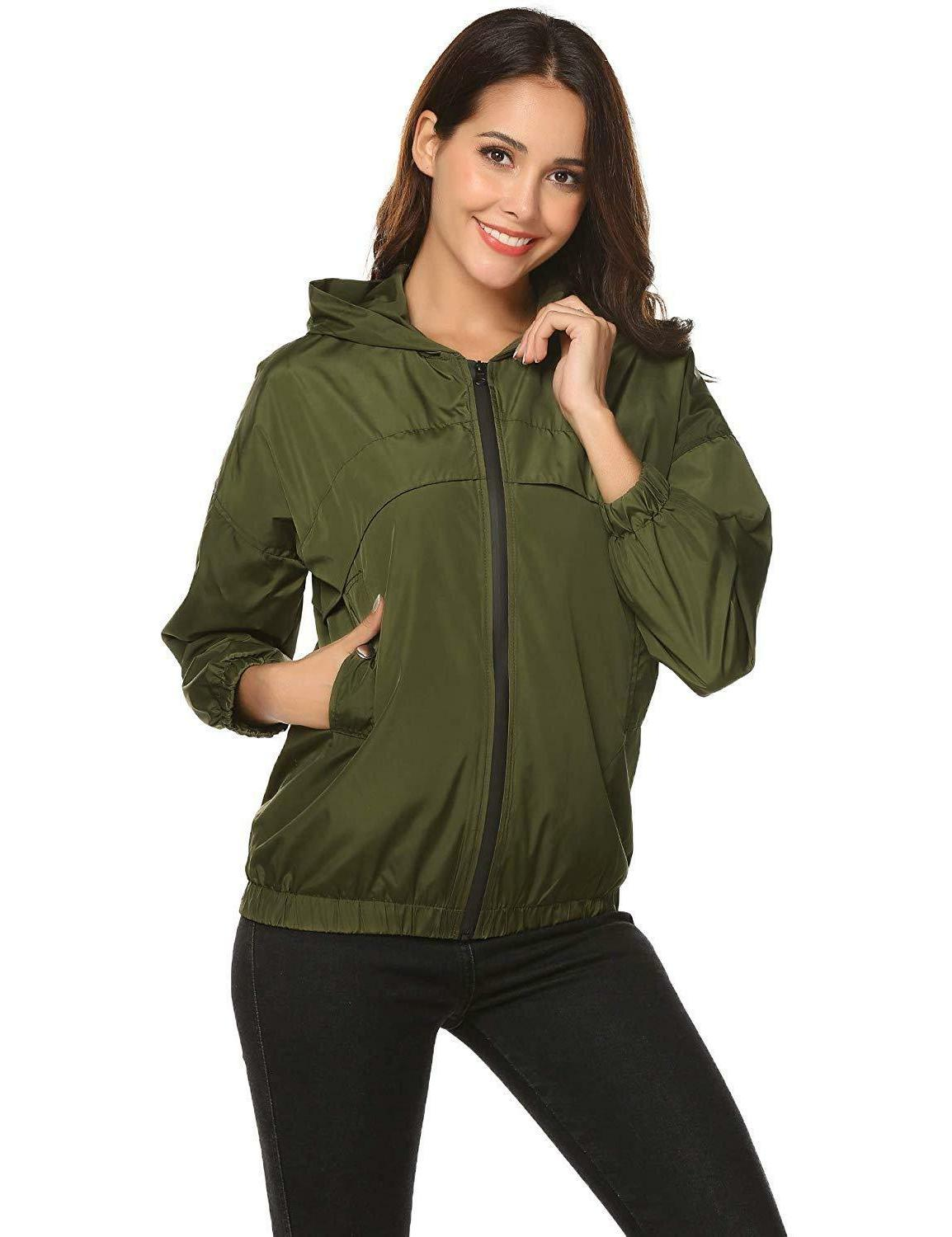 ZHENWEI Lightweight Jacket Casual Zip Rain