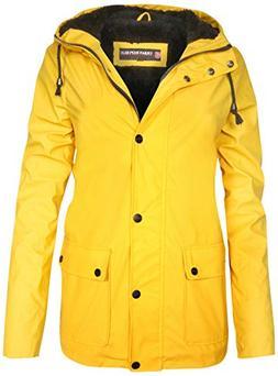 Urban Republic Ladies Hooded Vinyl Rain Jacket with Fur Lini