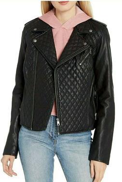 Levi's Women's Faux Leather Asymmetrical Diamond Quilted Mot