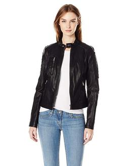 Levi's Women's Faux Leather Fashion Quilted Racer Jacket, Bl