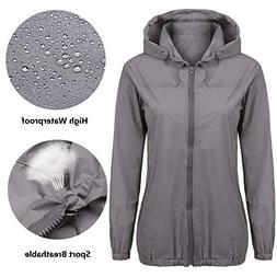 Beyove Lightweight Rain Coats Women Hoods Jacket Plus Size G