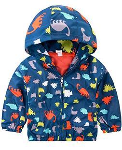Little Boys Dinosaur Hoodies Active Jackets Raincoat Winter
