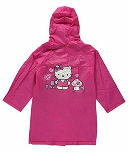 little girls pink hooded rain coat jacket