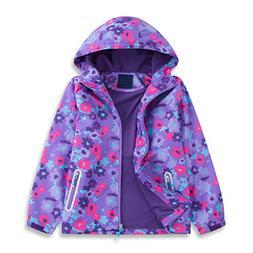 Star Flower Little Girls Rain Jacket Coats Hood