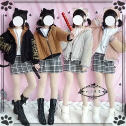 Lolita Girl Hooded Coats Thicken Outerwear Blousons Loose Do