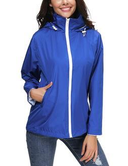 LOMON Lightweight Waterproof Raincoat For Women Windbreaker
