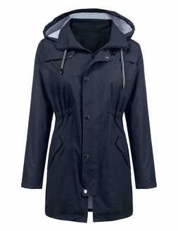Lomon Raincoat Women Waterproof Long Hooded Trench Coats Lin