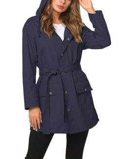 ZHENWEI Long Rain Jacket Women Hooded Raincoat Dress Rain Co