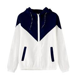 FEITONG Women Long Sleeve Stitching Hit Color Thin Hooded Zi