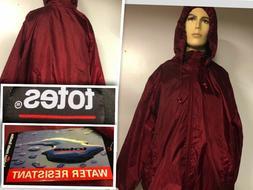TOTES  Maroon Burgundy 3X  Hood Fleece Lined Zip-Up Rain Jac