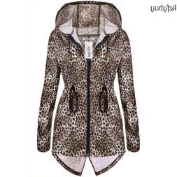 Meaneor Women Fashion Leopard Fishtail Waist Drawstring Hood