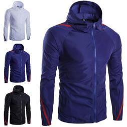 Men Zip Hoodie Rain Coat Jacket Long Sleeve Tops Climbing Fi