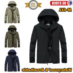 Men's Jacket Waterproof Hooded Outdoor Camping Breathable Ou