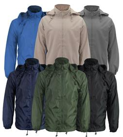 Men's Lined Hooded Windbreaker Water Resistant Polar Fleece
