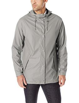 Cole Haan Men's Rubberized Hooded Jacket, Ironstone, X-Large