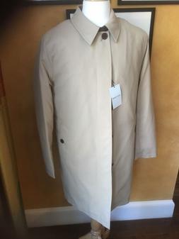 Men's Cole Haan Tan Rain Coat Raincoat  removable liner leat
