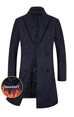 Men's Trench Coat Wool Blend French Long Jacket Thicken Busi