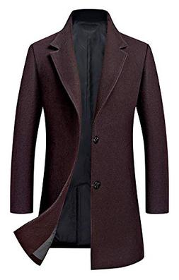 Men's Trench Coat Wool Blend Slim Fit Jacket Single Breasted